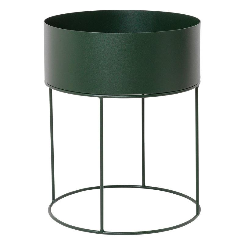Ferm Living Fioriera Plant Box, rotonda, verde scuro