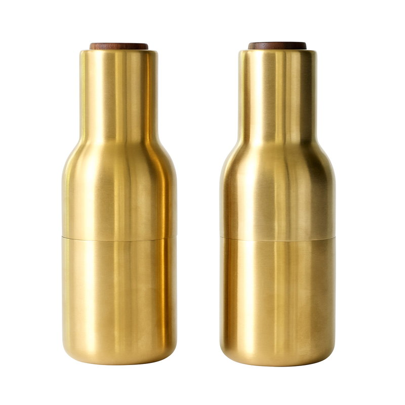 Menu Bottle Grinder, 2 pcs, brushed brass - walnut