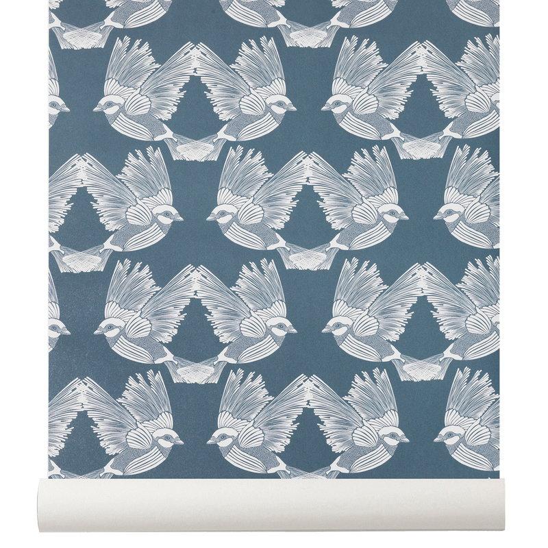 Ferm Living Birds wallpaper, dark green - off white