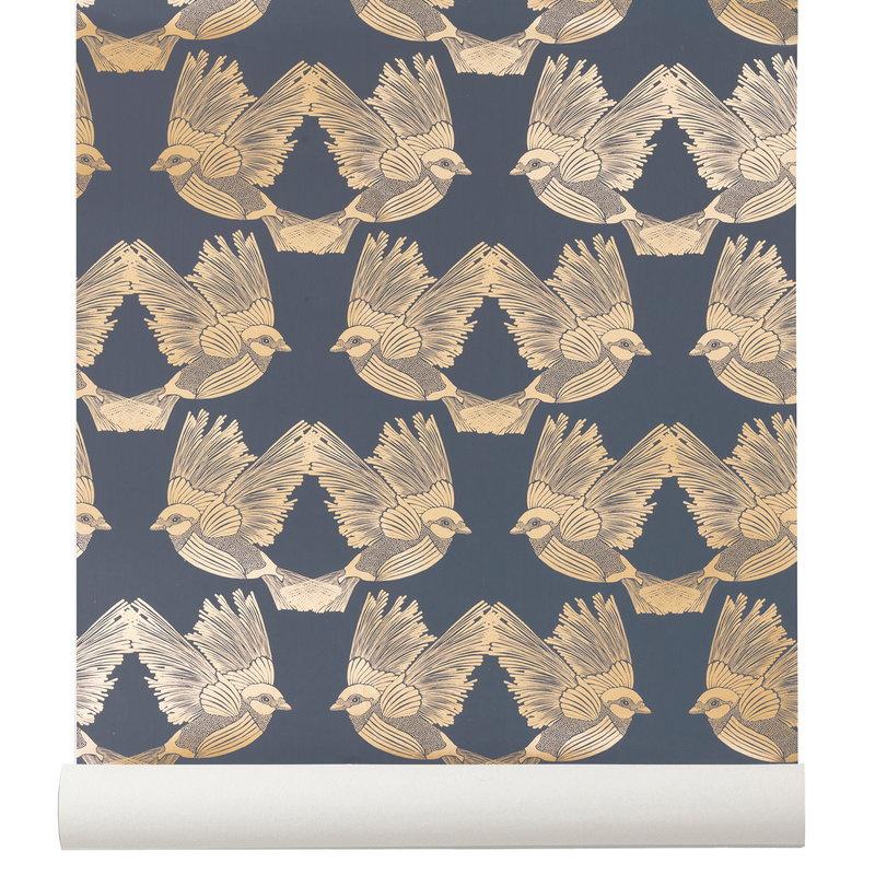 Ferm living carta da parati birds blu scuro oro for Carta parati blu