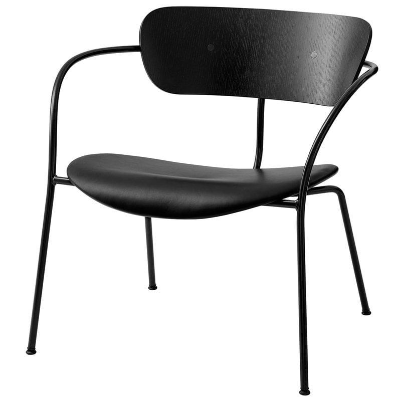 &Tradition Pavilion AV6 lounge chair, black oak - Silk Black leather