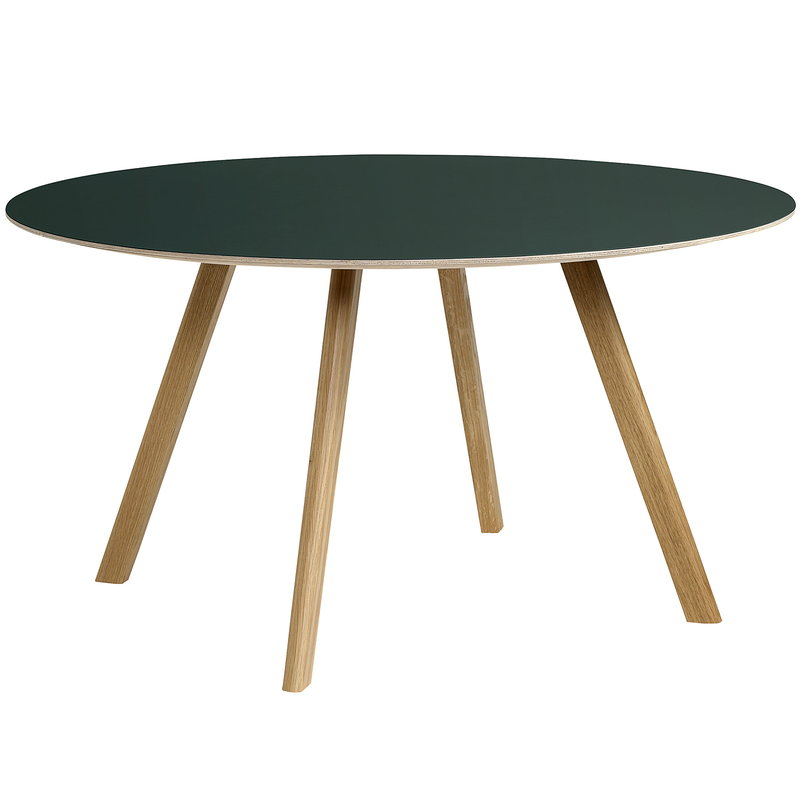 Hay CPH25 table round 140 cm, lacquered oak - green lino