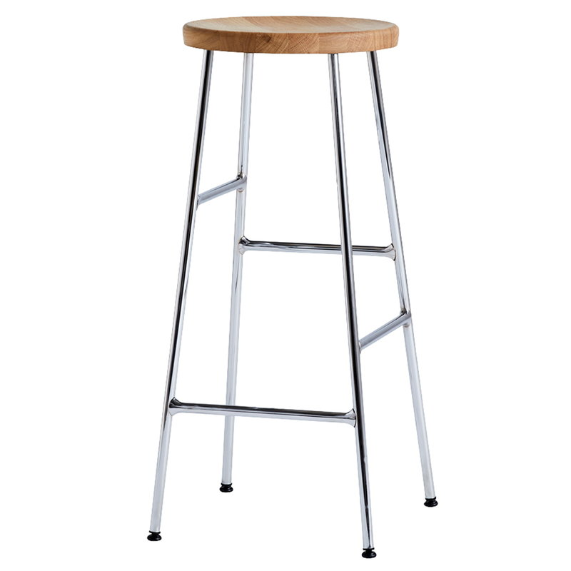Hay Cornet bar stool, high, chrome - oiled oak