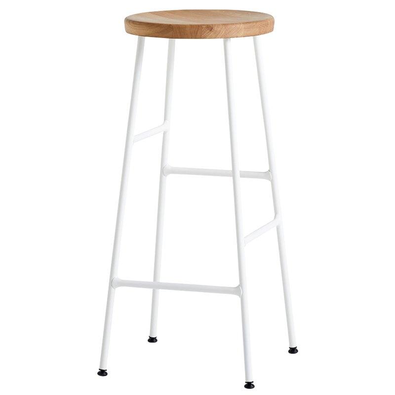 Hay Cornet bar stool, high, cream white - oiled oak