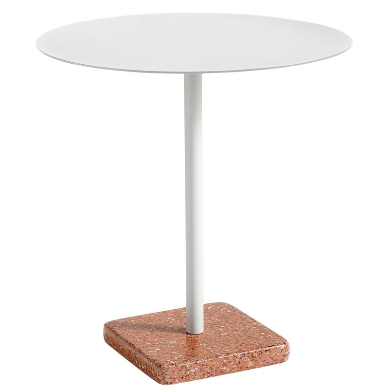 Terrazzo Table 70 Cm Light Grey Red