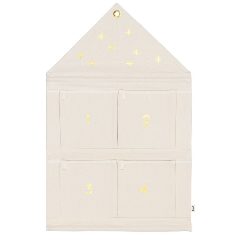 Ferm Living Calendario dell'Avvento House, bianco naturale