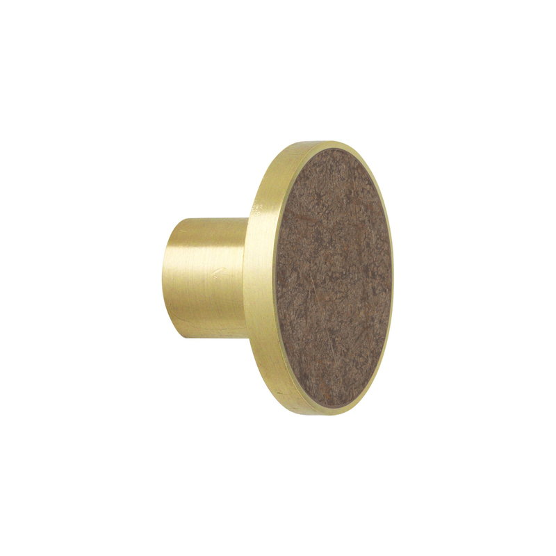 Ferm Living Hook, large, brass - brown marble
