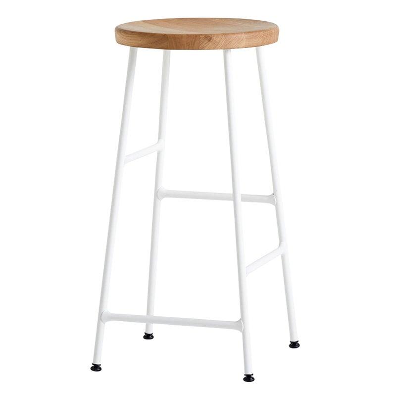 Hay Cornet bar stool, low, cream white - oiled oak