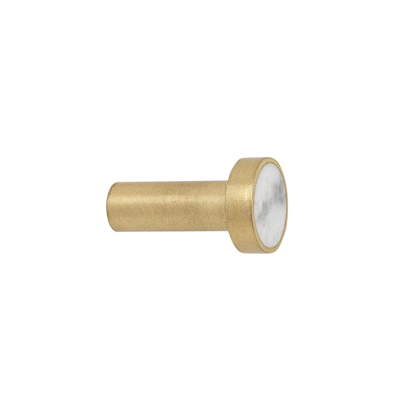 Ferm Living Hook, small, brass - white marble