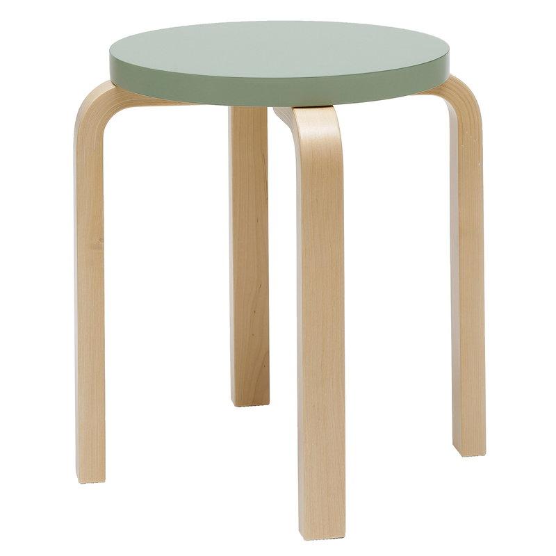 Artek Aalto stool E60, green - birch