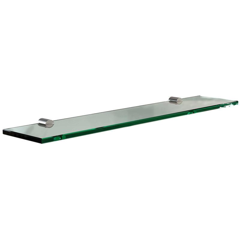 Frost Nova wall shelf, glass - brushed steel