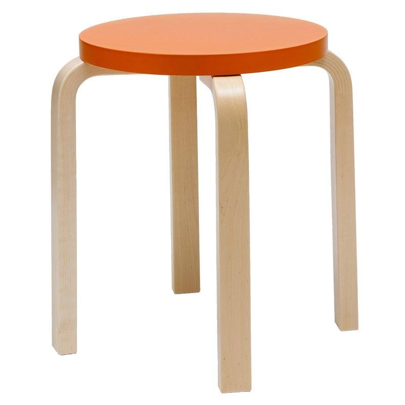 Artek Aalto jakkara E60, oranssi - koivu
