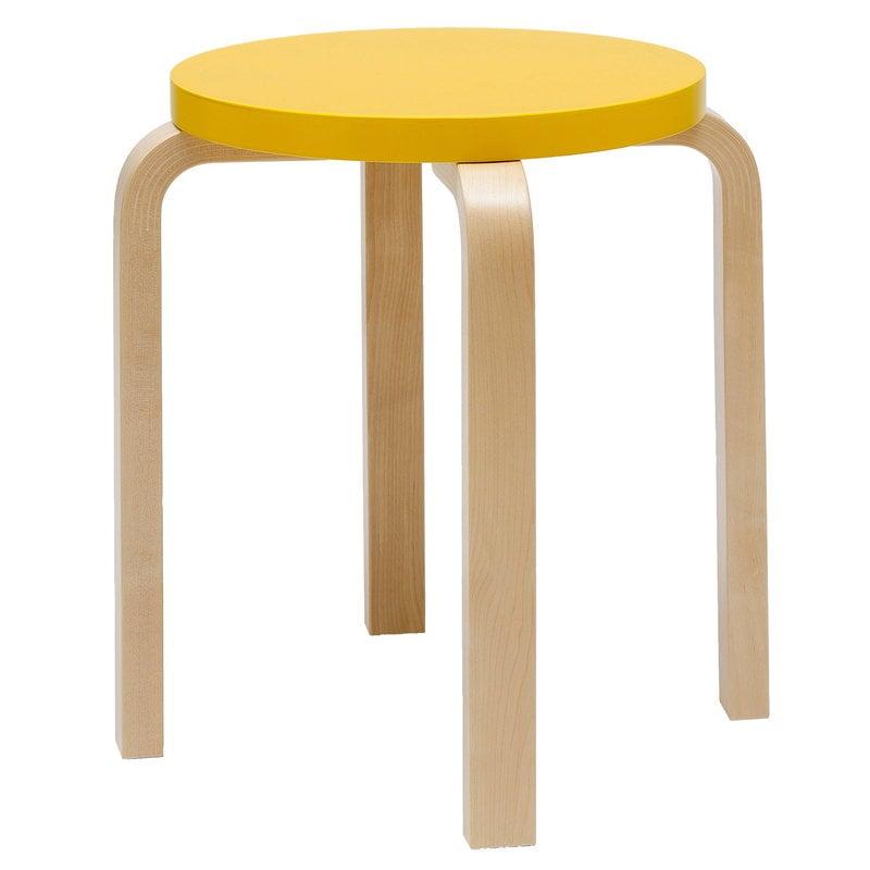 Artek Aalto stool E60, yellow - birch