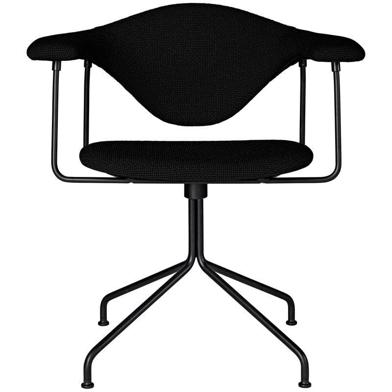 Gubi Masculo tuoli, pyörivä, musta kangasverhoilu