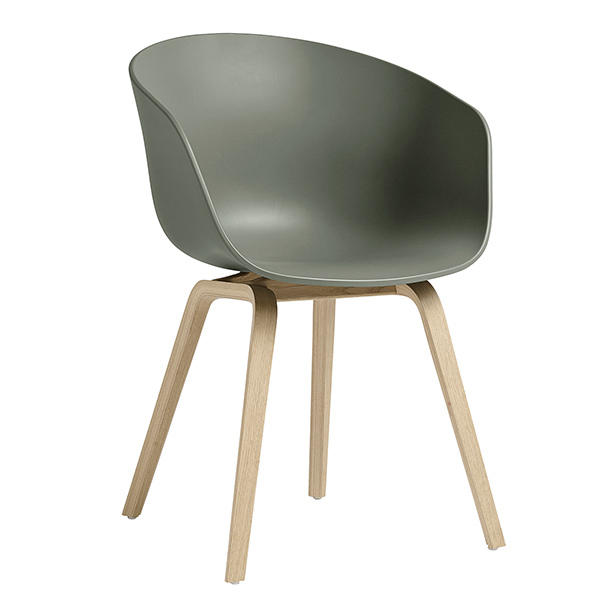 Hay About A Chair AAC22, dusty green - matt lacquered oak