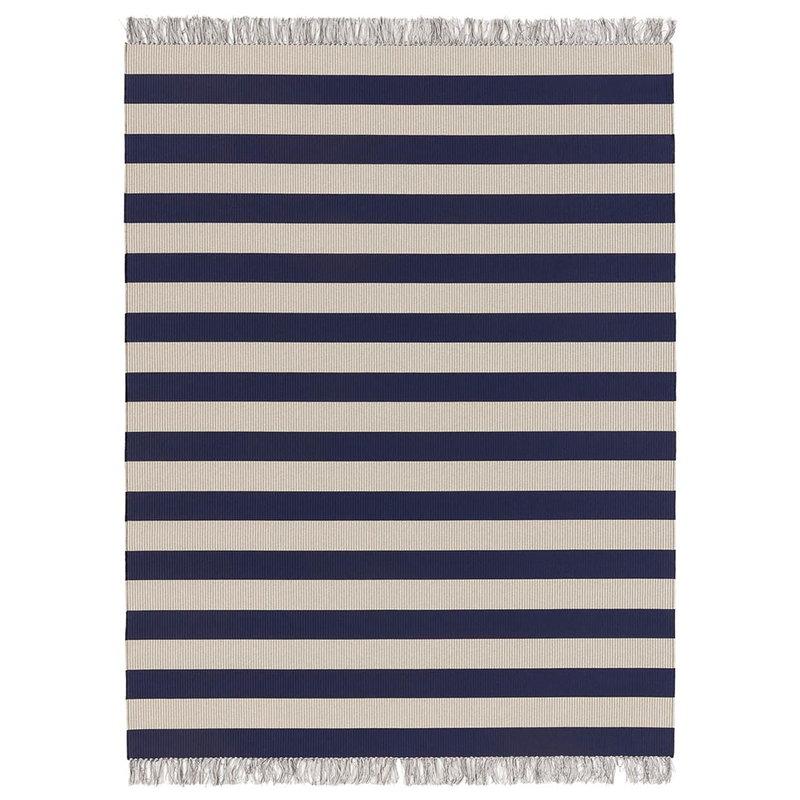 Woodnotes Big stripe matto, tummansininen - vaalea hiekka