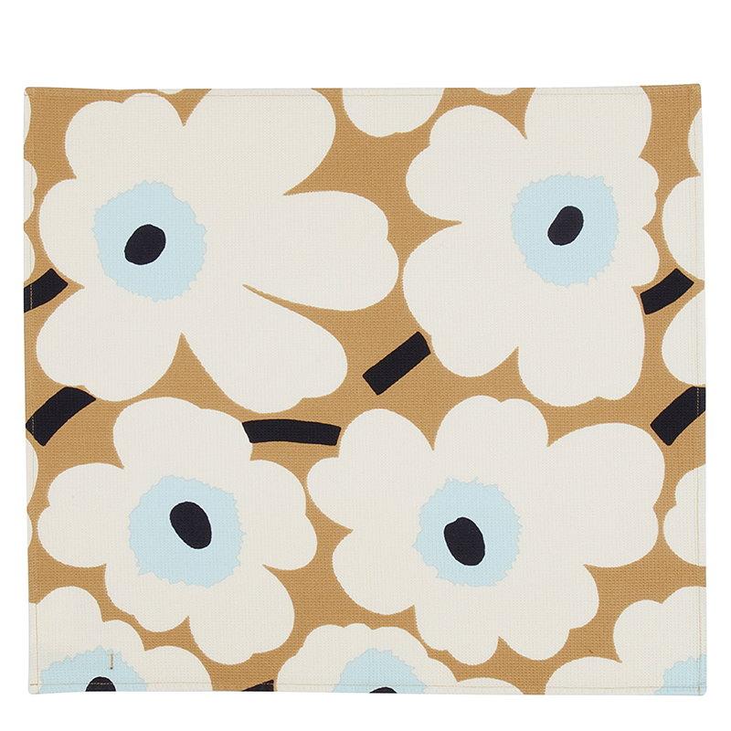 Marimekko Pieni Unikko tea towel, beige-off white-blue