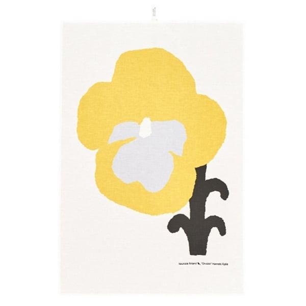 Kauniste Orvokki keittiöpyyhe, keltainen