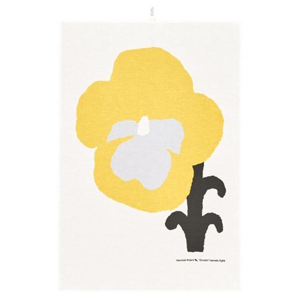 Kauniste Orvokki tea towel, yellow