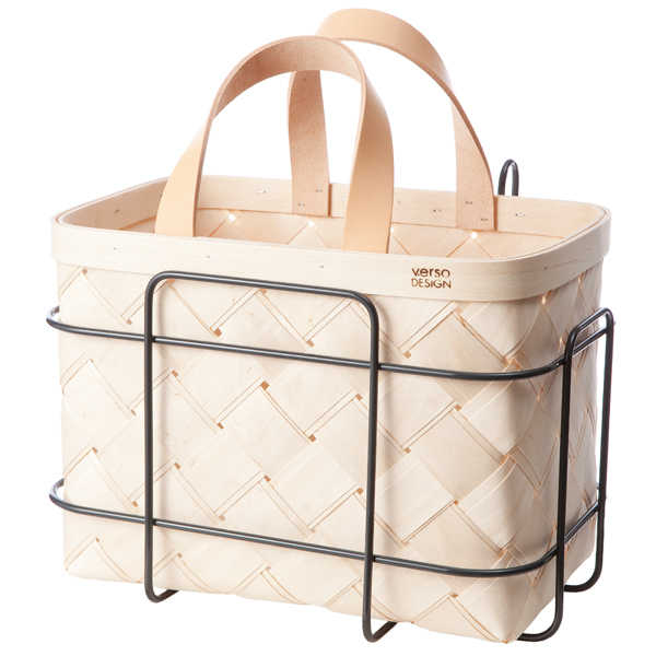 Verso Design Lastu birch basket for bicycle, leather handles