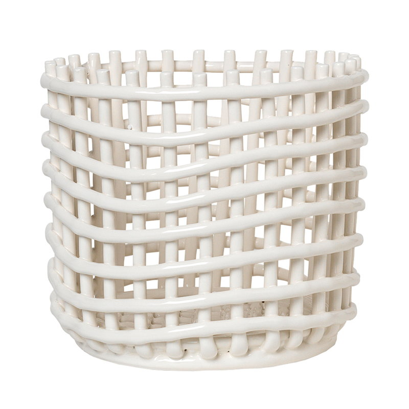 Ferm Living Ceramic basket, large, off-white