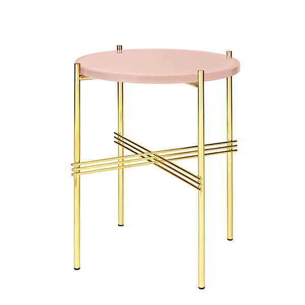 Gubi TS coffee table, 40 cm, brass - pink glass
