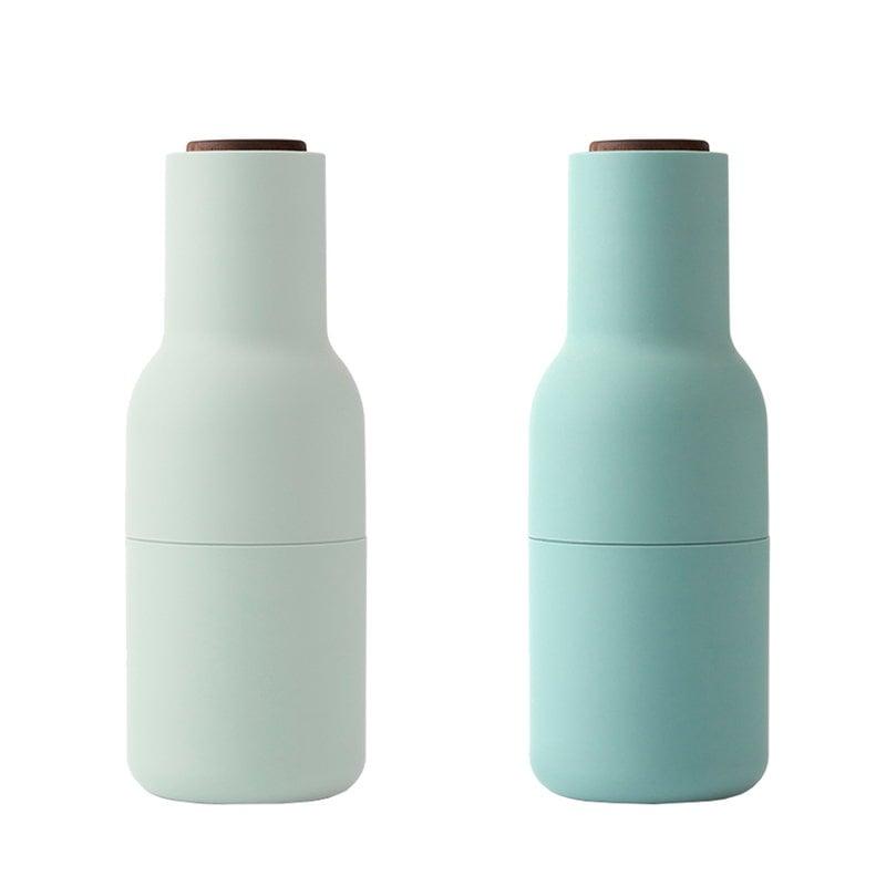Menu Macinino Bottle, set di 2, moss green, tappo in noce