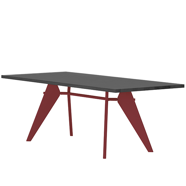 Vitra Em Table 240 x 90 cm, asphalt - japanese red