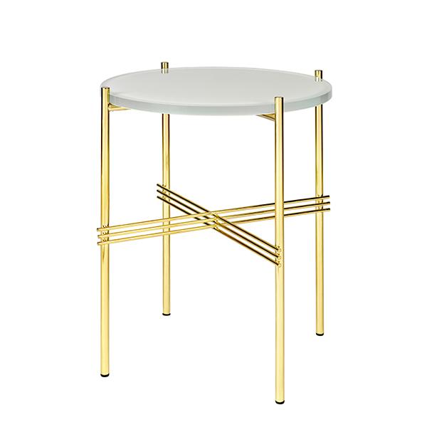 Gubi TS coffee table, 40 cm, brass - white glass