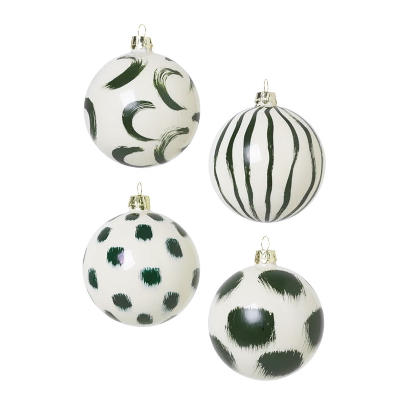 Ferm Living Christmas hand painted glass ornaments, 4 pcs, green