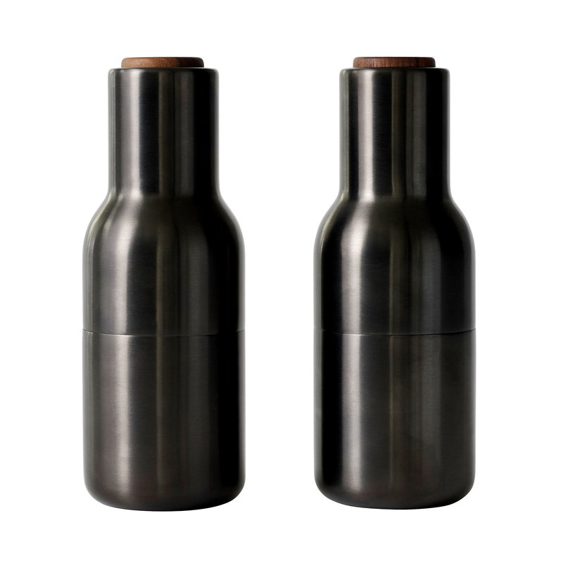 Menu Bottle Grinder, 2 pcs, bronzed brass - walnut