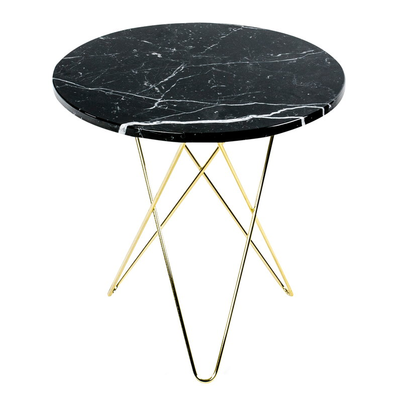 OX Denmarq Tall Mini O table, brass - black marble