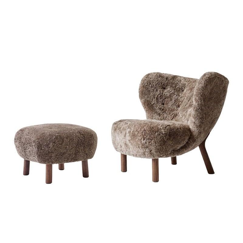 Tradition Little Petra Lounge Chair And Pouf Sahara Sheepskin Walnut Finnish Design Shop
