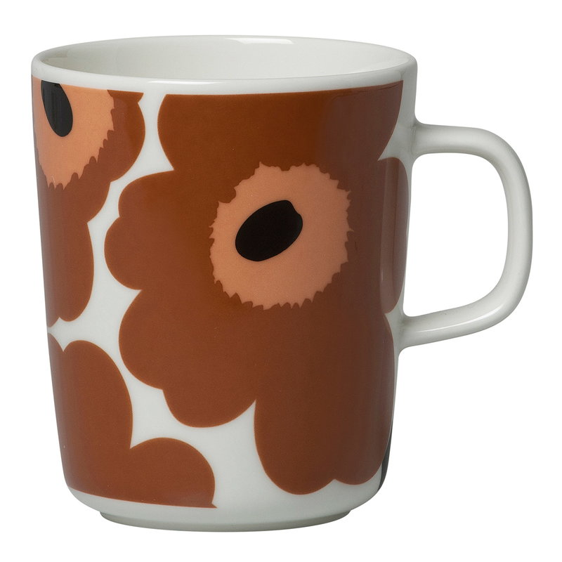 Marimekko Oiva - Unikko mug 2,5 dl, white - brown - black
