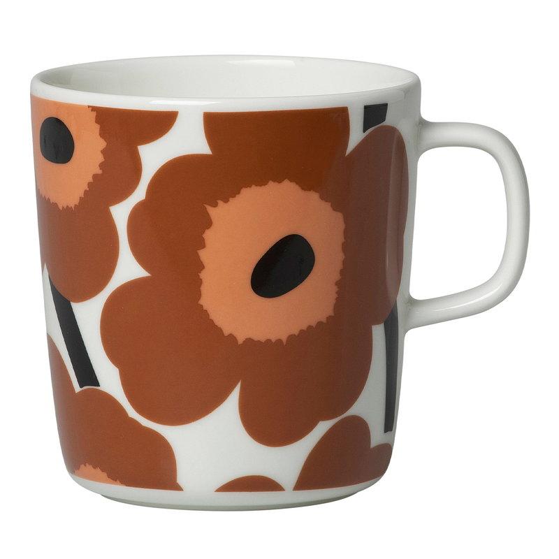 Marimekko Oiva - Unikko mug 4 dl, white - brown - black