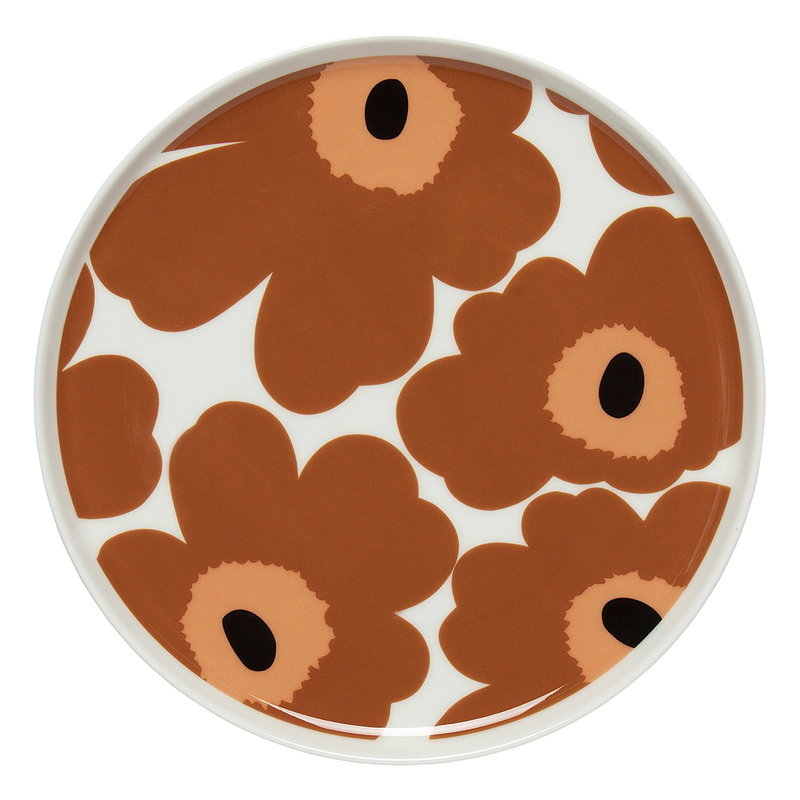 Marimekko Oiva - Unikko plate 20 cm, white - brown - black