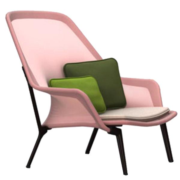 Vitra Slow Chair, red/cream - chocolate