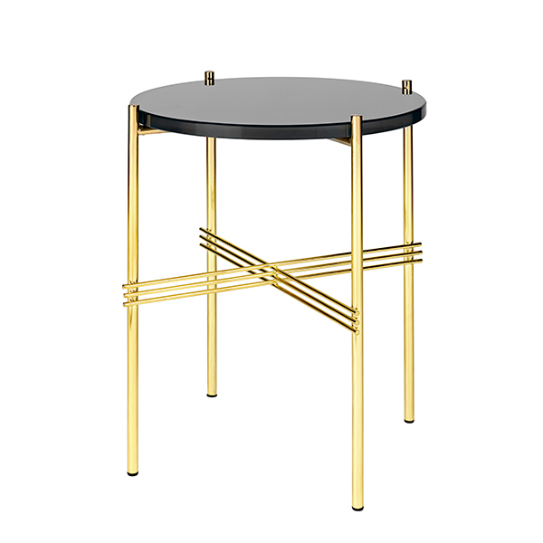 Gubi TS coffee table, 40 cm, brass - black glass