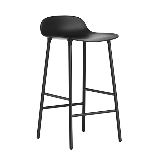 Normann Copenhagen Form barstool 65 cm, steel base, black