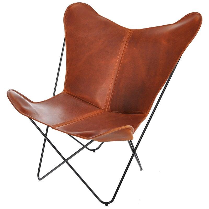 OX Denmarq Papillon tuoli, konjakinruskea nahka