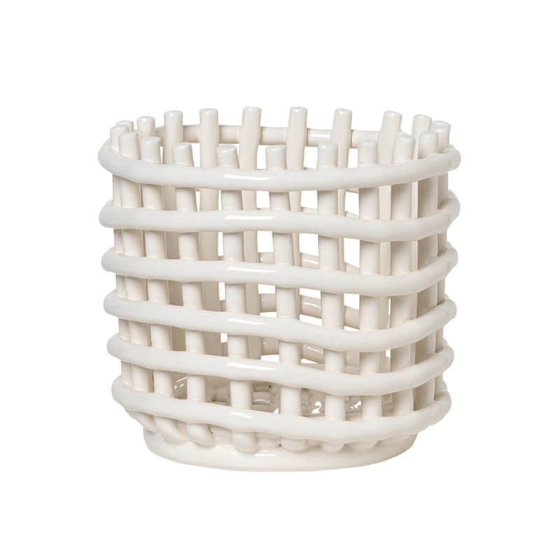 Ferm Living Ceramic basket, small, off-white