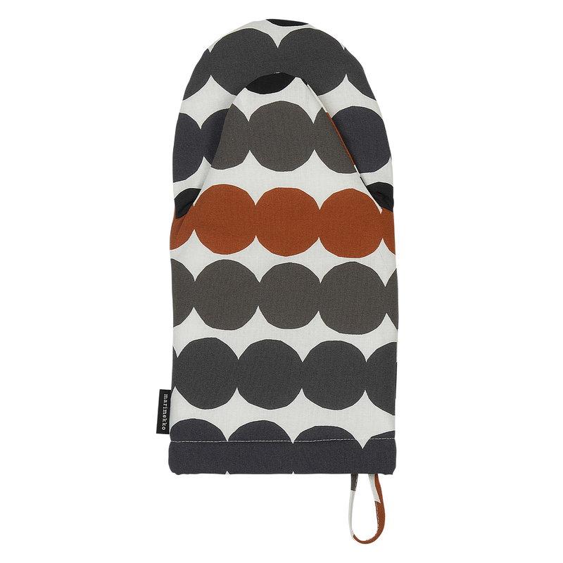 Marimekko Räsymatto oven mitten, white - grey - chestnut