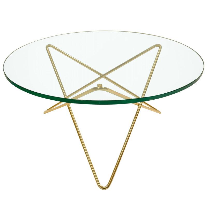 OX Denmarq O table, brass - green glass