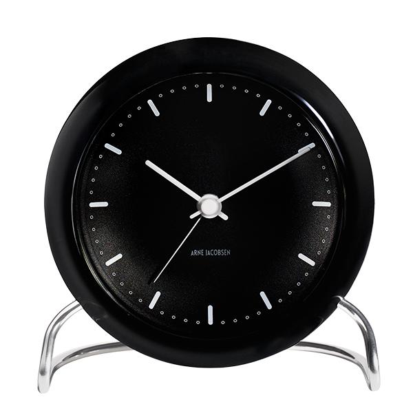 Arne Jacobsen AJ City Hall table clock with alarm, black