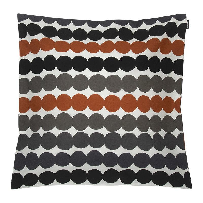 Marimekko Räsymatto cushion cover, 50 x 50 cm, white - grey - chestnut