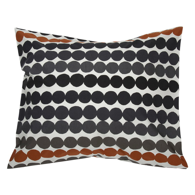 Marimekko Räsymatto pillowcase, white - black - chestnut