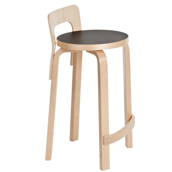 Artek Aalto high chair K65, black linoleum