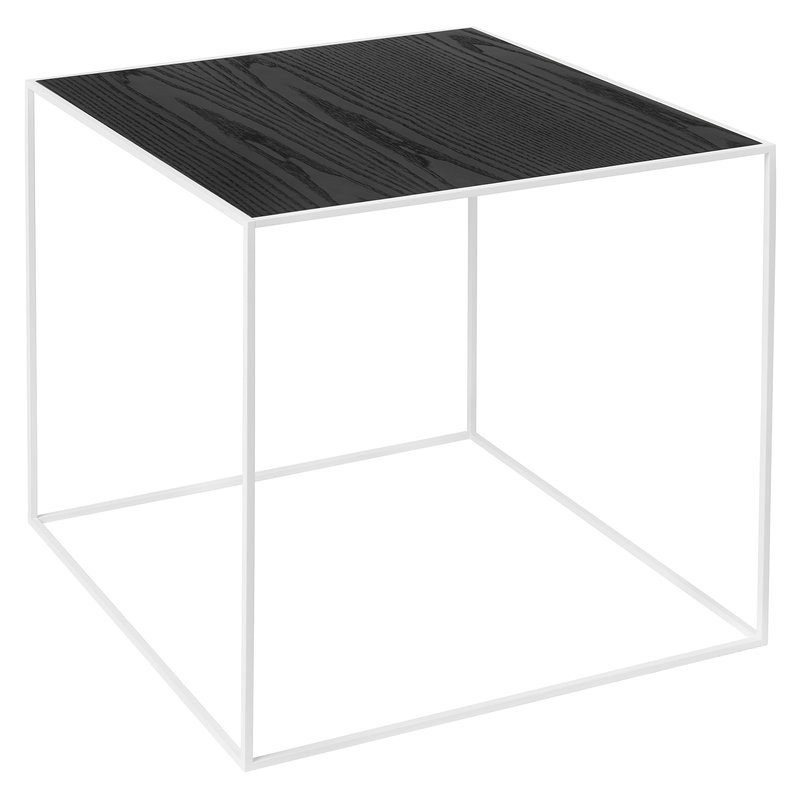 By Lassen Twin 42 table white, grey/black stained ash