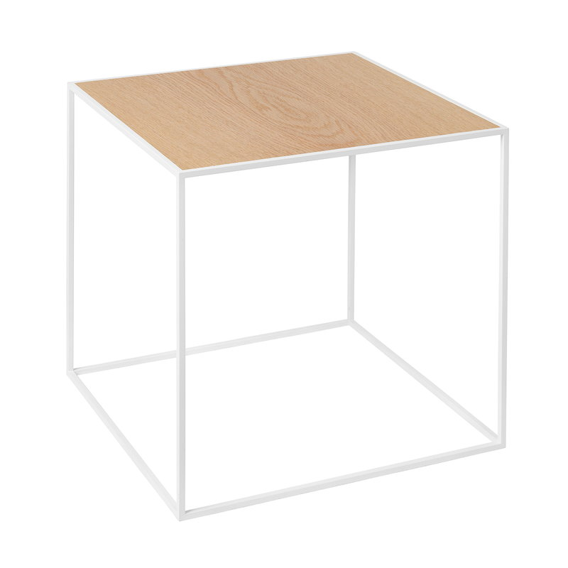 By Lassen Twin 35 table white, oak/brass