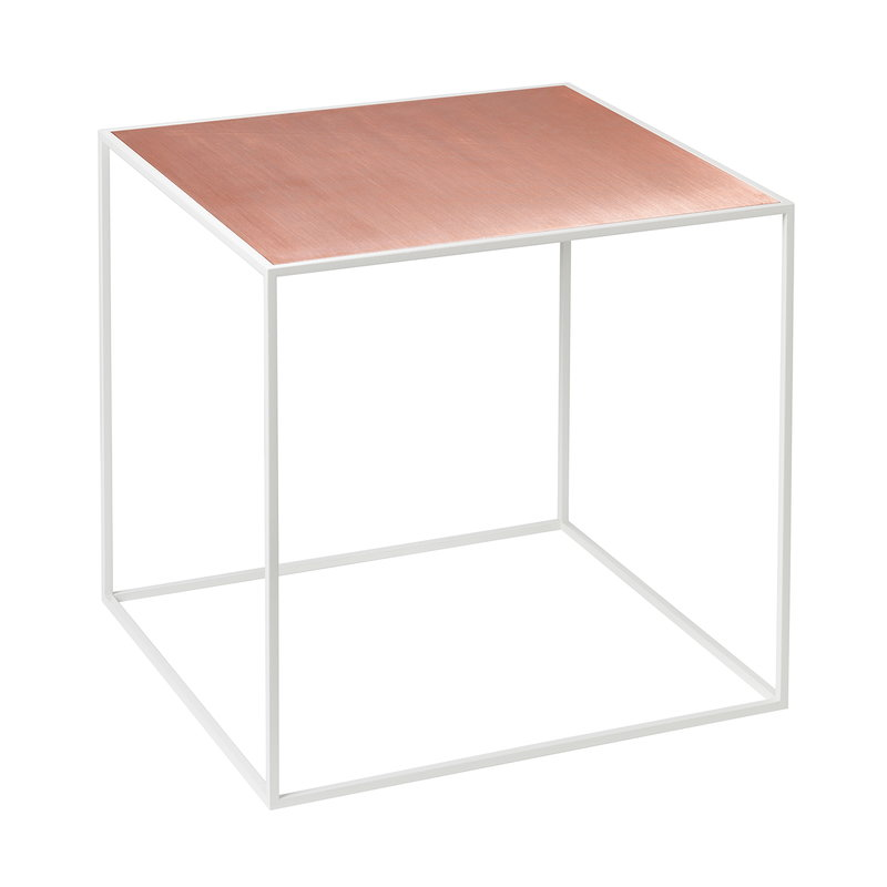 By Lassen Twin 35 table white, copper/black stained ash